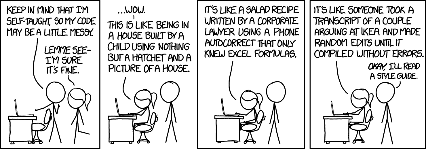 XKCD 'Code Quality', copied under CC BY-NC 2.5