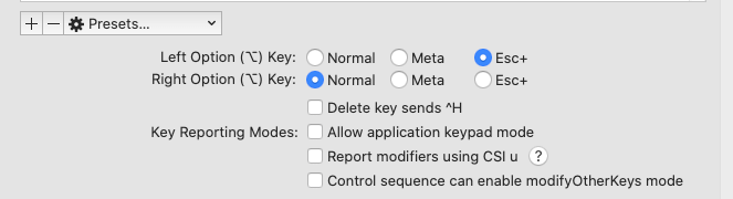 Keyboard Option Key Settings